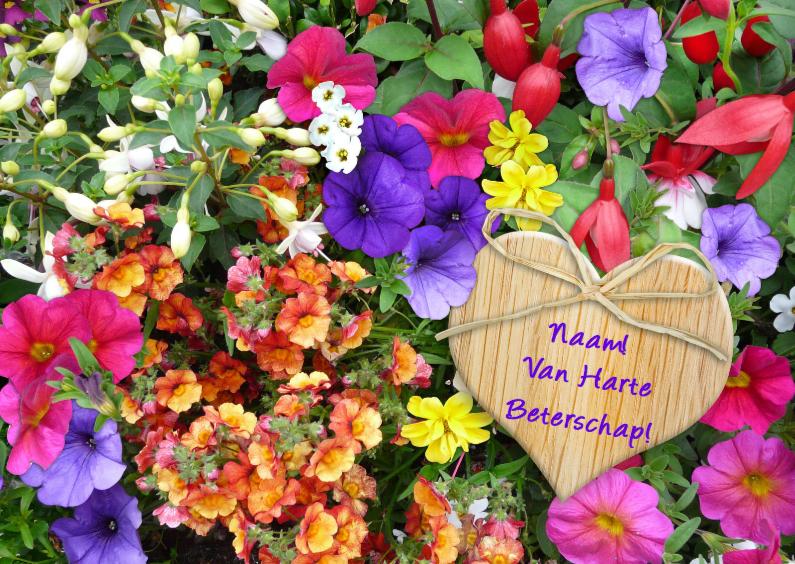 Beterschapskaarten - Beterschapskaart bloemenpracht in border met houten hartje