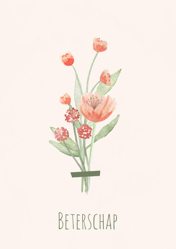 Beterschapskaarten - Beterschapskaart boeket rode tint bloemen