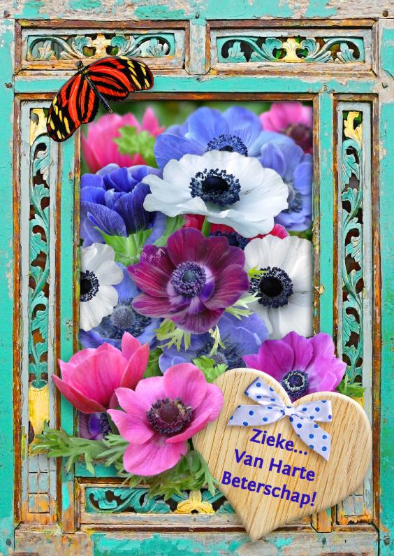 Beterschapskaarten - Beterschapskaart bos bloemen in sierlijk raamwerk van hout