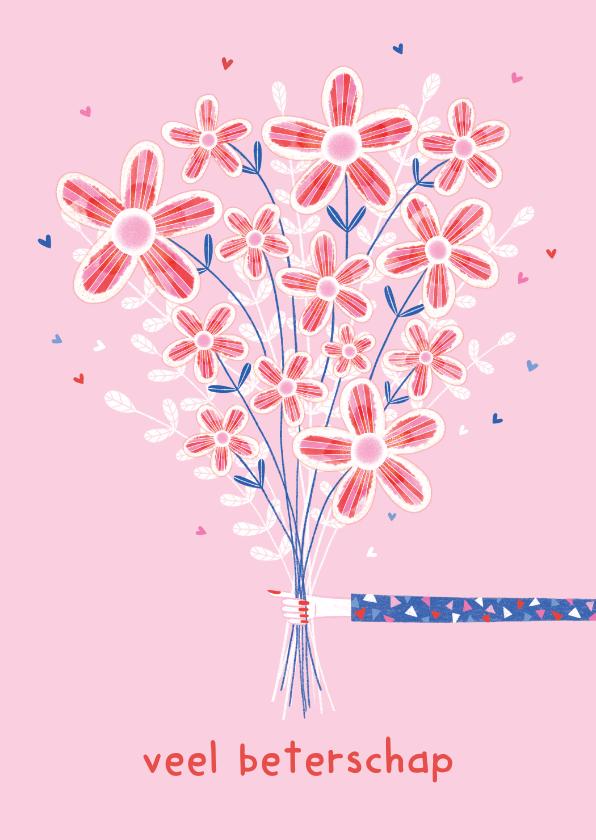 Beterschapskaarten - Beterschapskaart bos bloemen roze