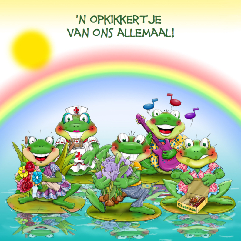 Beterschapskaarten - Beterschapskaart diverse opkikkertjes met regenboog