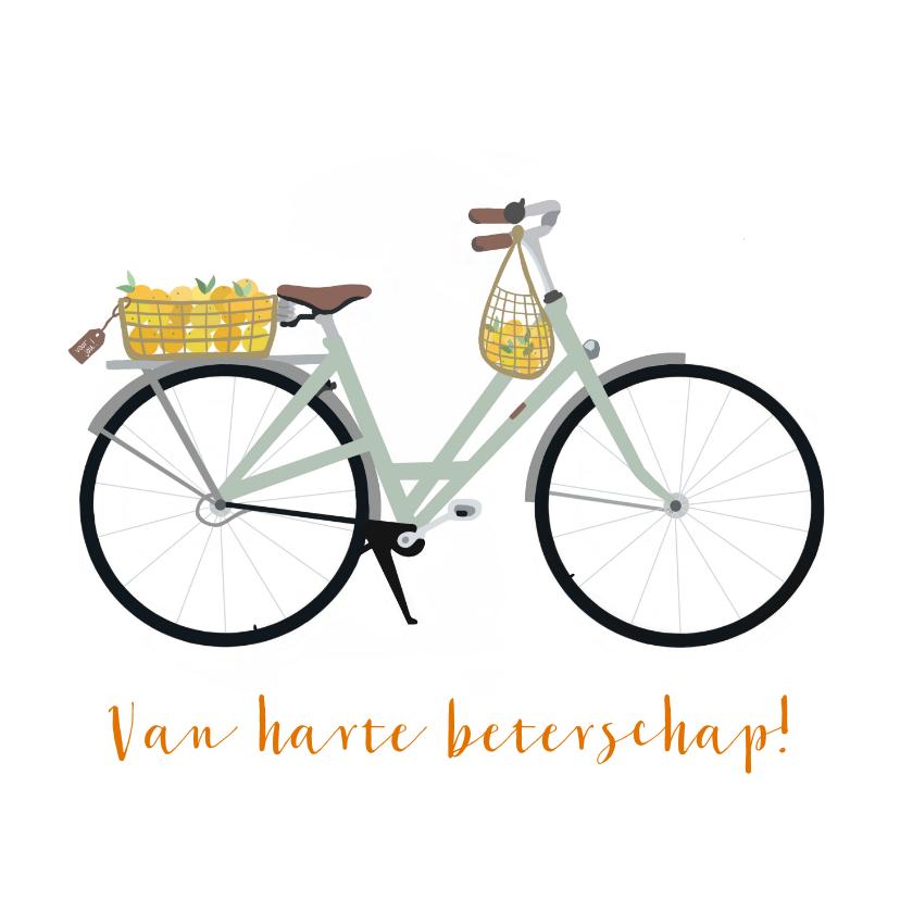 Beterschapskaarten - Beterschapskaart fiets met mandje sinaasappels