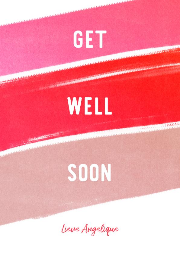 Beterschapskaarten - Beterschapskaart Get Well Soon krijt vrouw