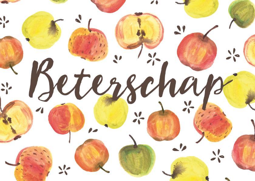 Beterschapskaarten - Beterschapskaart kleurige appels