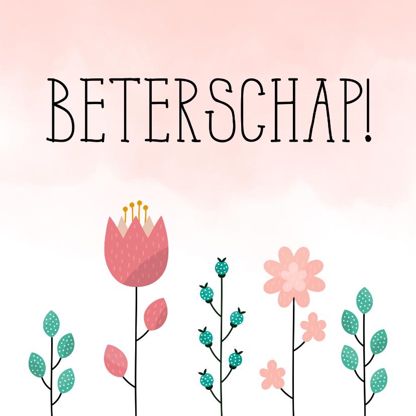 Beterschapskaarten - Beterschapskaart met bloemen en waterverf