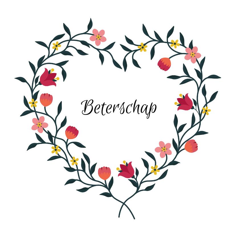 Beterschapskaarten - Beterschapskaart met bloemen in hartvorm