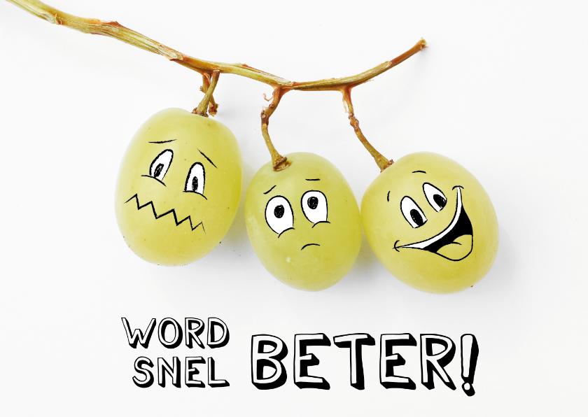 Beterschapskaarten - Beterschapskaart met smiley druiven, word snel beter!