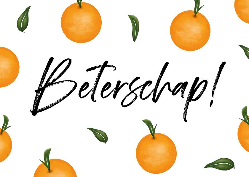 Beterschapskaarten - Beterschapskaart met fruit en beterschap