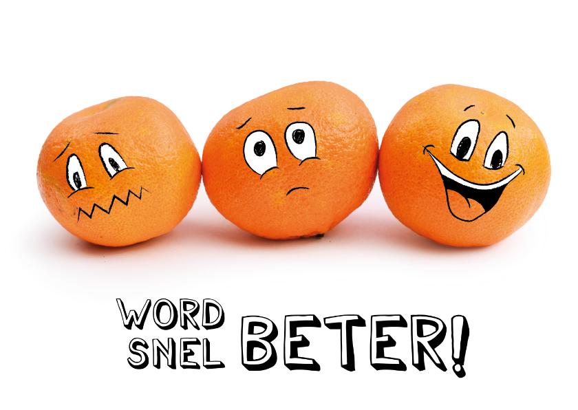 Beterschapskaarten - Beterschapskaart met mandarijnen smileys, word snel beter!