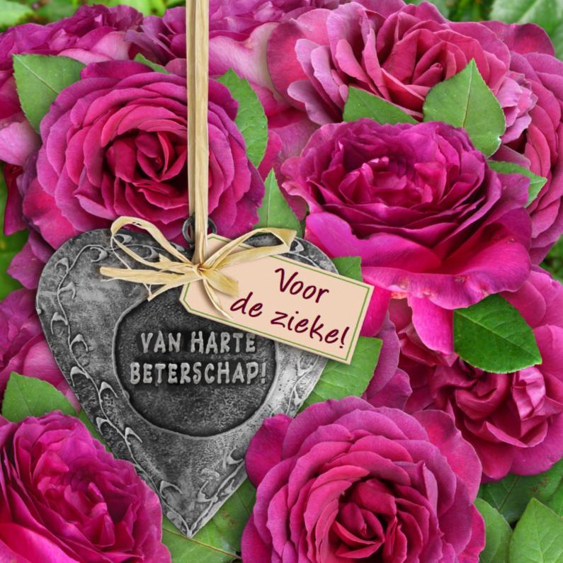 Beterschapskaarten - Beterschapskaart met rode roos