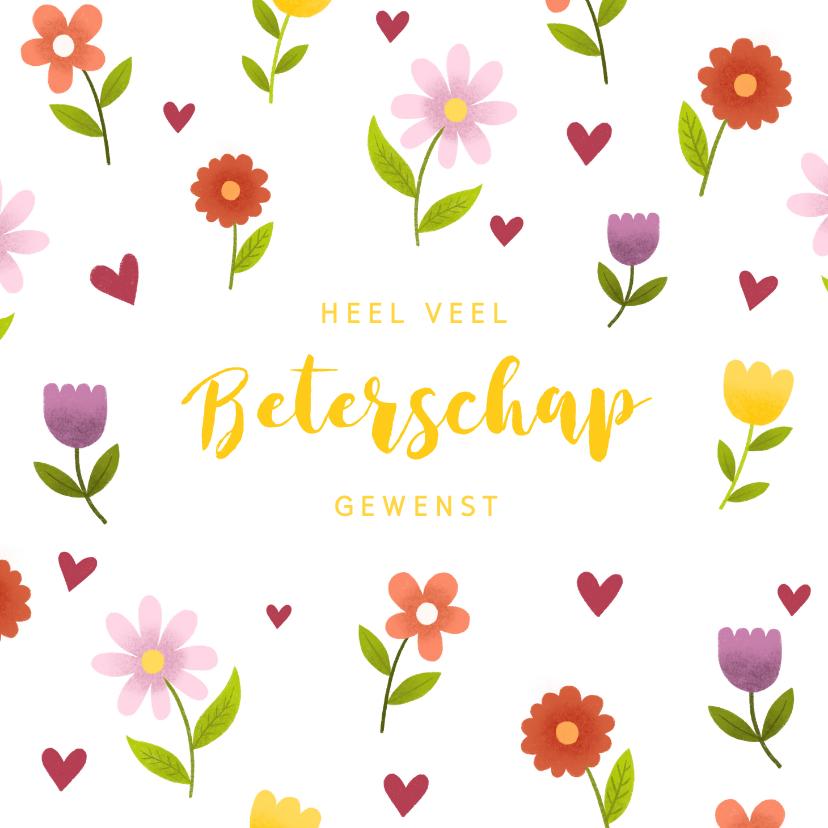 Beterschapskaarten - Beterschapskaart met vrolijke bloemen en hartjes