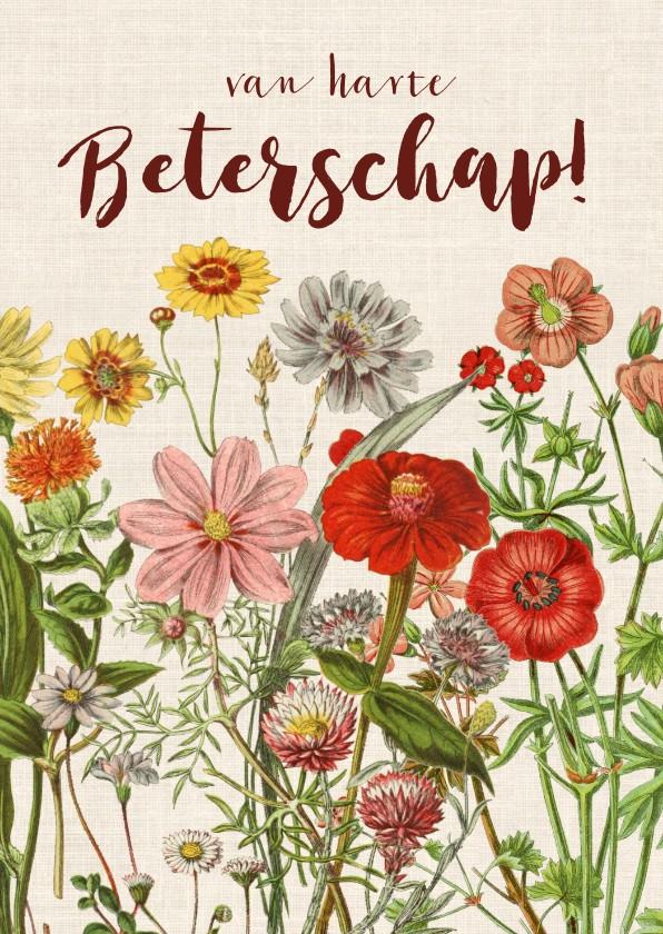 Beterschapskaarten - Beterschapskaart met vrolijke vintage bloemen