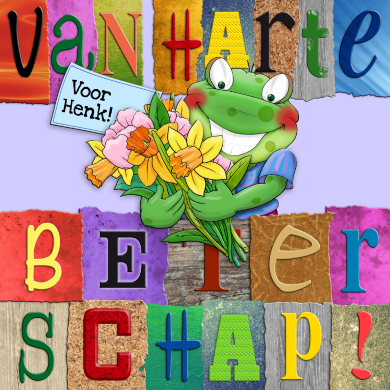 Beterschapskaarten - Beterschapskaart  opkikker met letters en bloemen