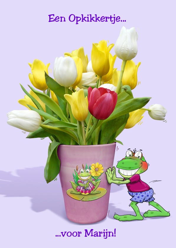 Beterschapskaarten - Beterschapskaart opkikker met tulpen in vaas