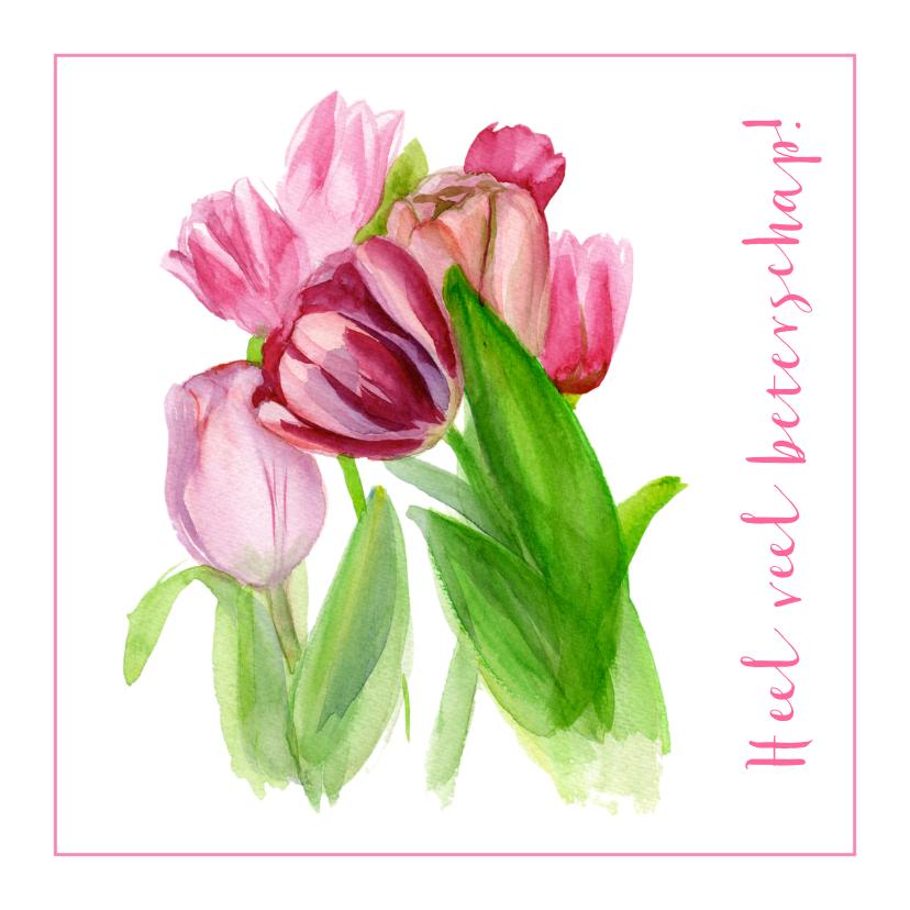 Beterschapskaarten - Beterschapskaart Roze Tulpen