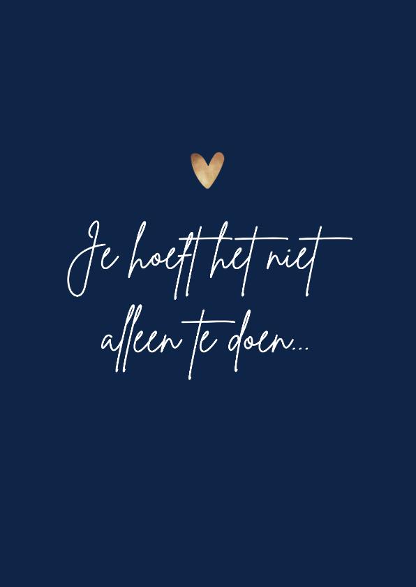 Beterschapskaarten - Beterschapskaart steun opbeurend moeilijke tijd gouden hart