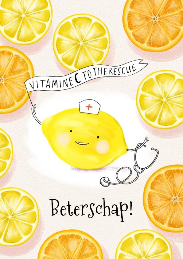 Beterschapskaarten - Beterschapskaart vitamines met grappig citroen karaktertje