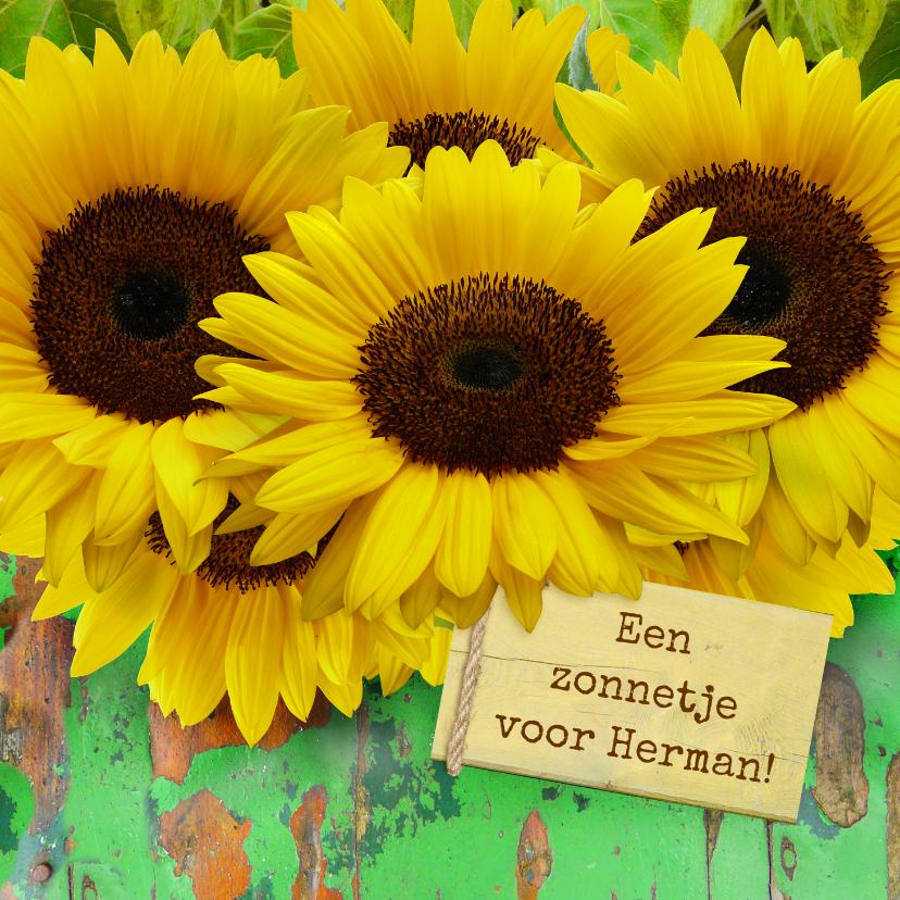 Beterschapskaarten - Beterschapskaart Zonnebloemen met hout en beterschap
