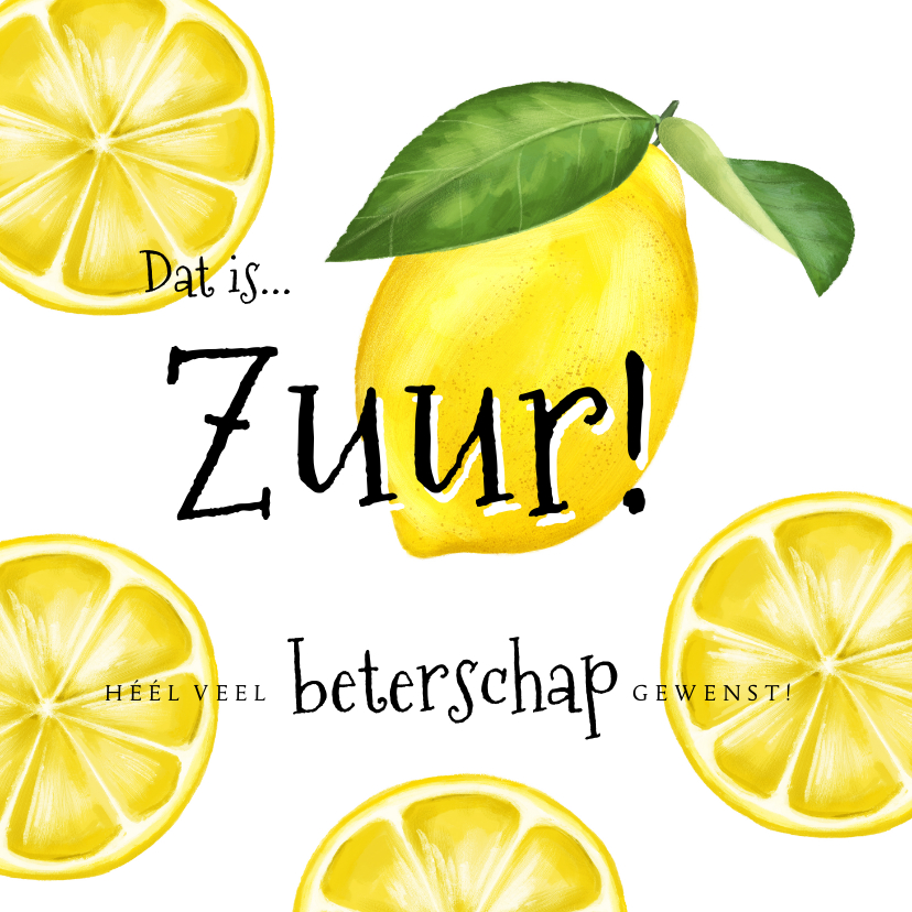 Beterschapskaarten - Beterschapskaart 'Zuur' met geïllustreerde citroenen