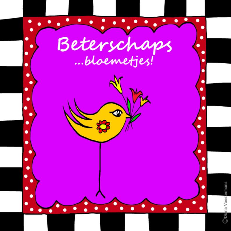 Beterschapskaarten - BIRDIE beterschaps bloemetjes