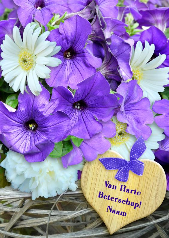 Beterschapskaarten - Blauwe Petunia op vlechtwerk Beterschap