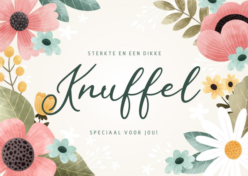 Beterschapskaarten - Fleurige beterschapskaart met knuffel en bloemen