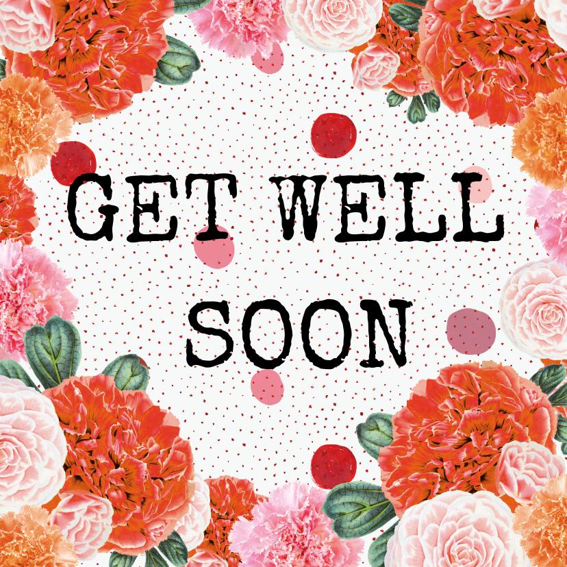 Beterschapskaarten - 'Get well soon' beterschapskaart met een bloemenrand