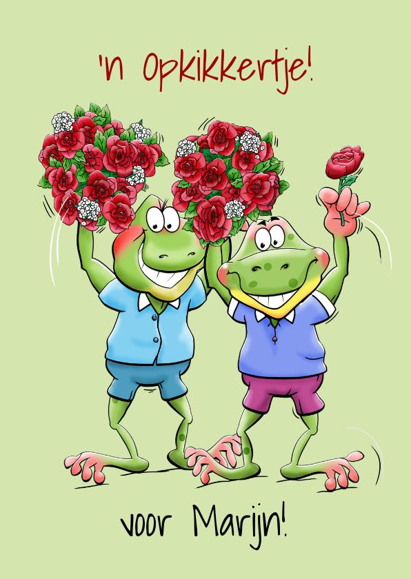 Beterschapskaarten - Grappige beterschapskaart met 2 kikkers en rozen