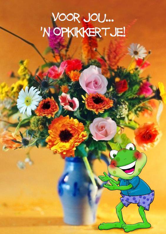 Beterschapskaarten - Grappige opkikker met bloemen in vaas