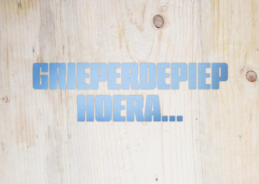 Beterschapskaarten - Grieperdepiep hoera blauw