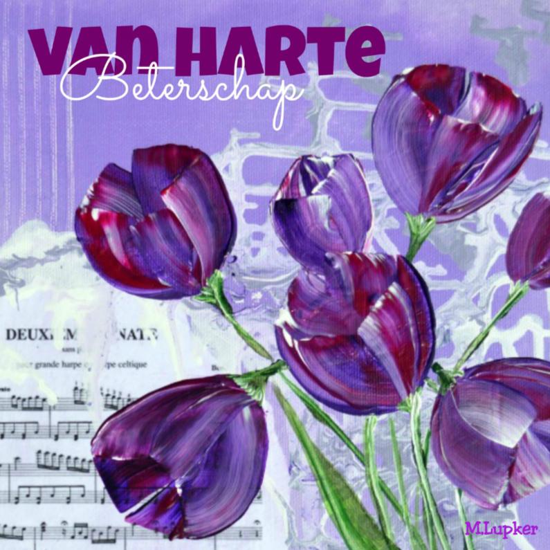Beterschapskaarten - Handgeschilderde tulpen Beterschap