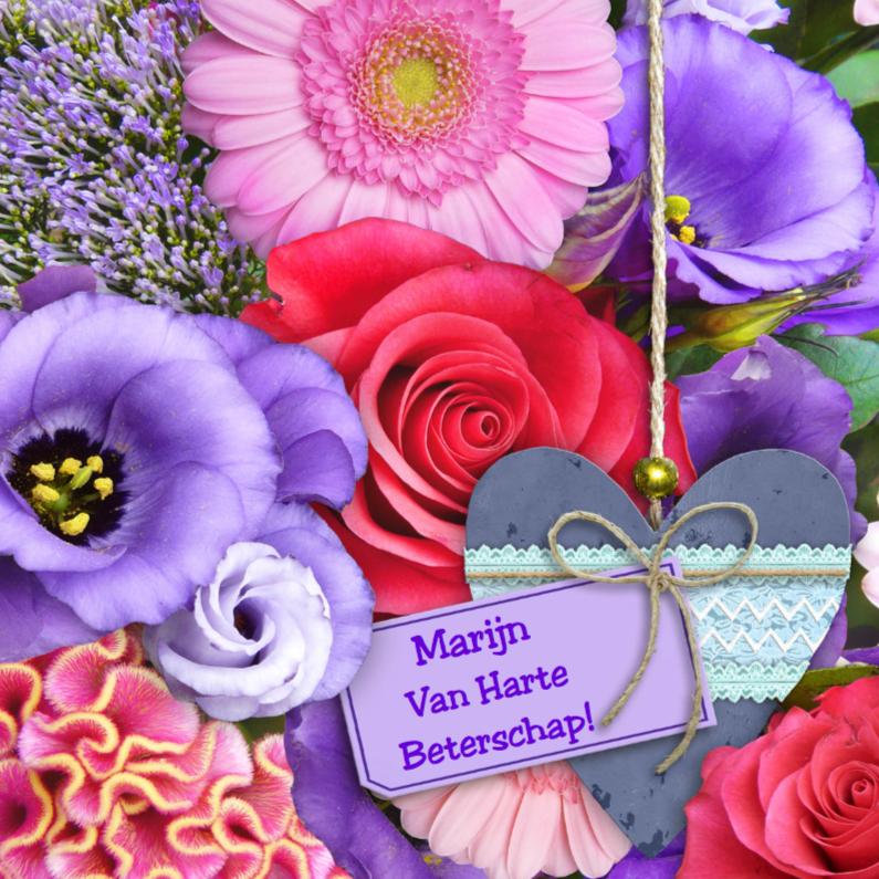 Beterschapskaarten - Hart hout bloemen Beterschap