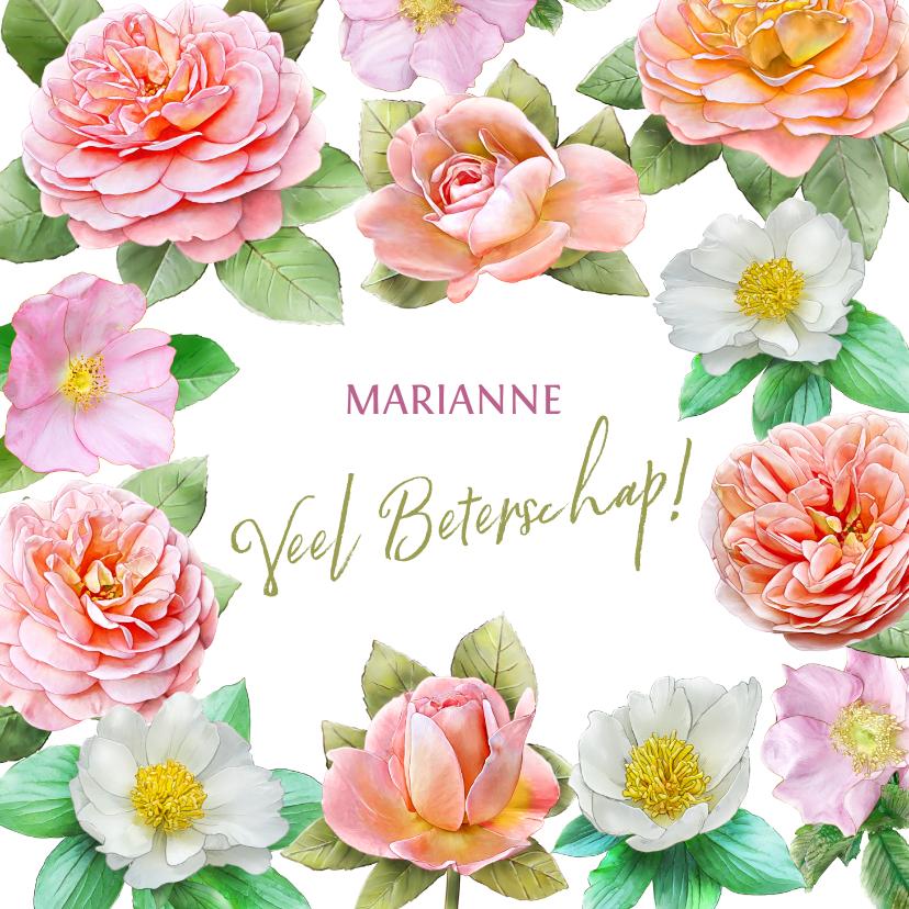 Beterschapskaarten - Kleurige beterschapskaart met roze en oranje-gele rozen