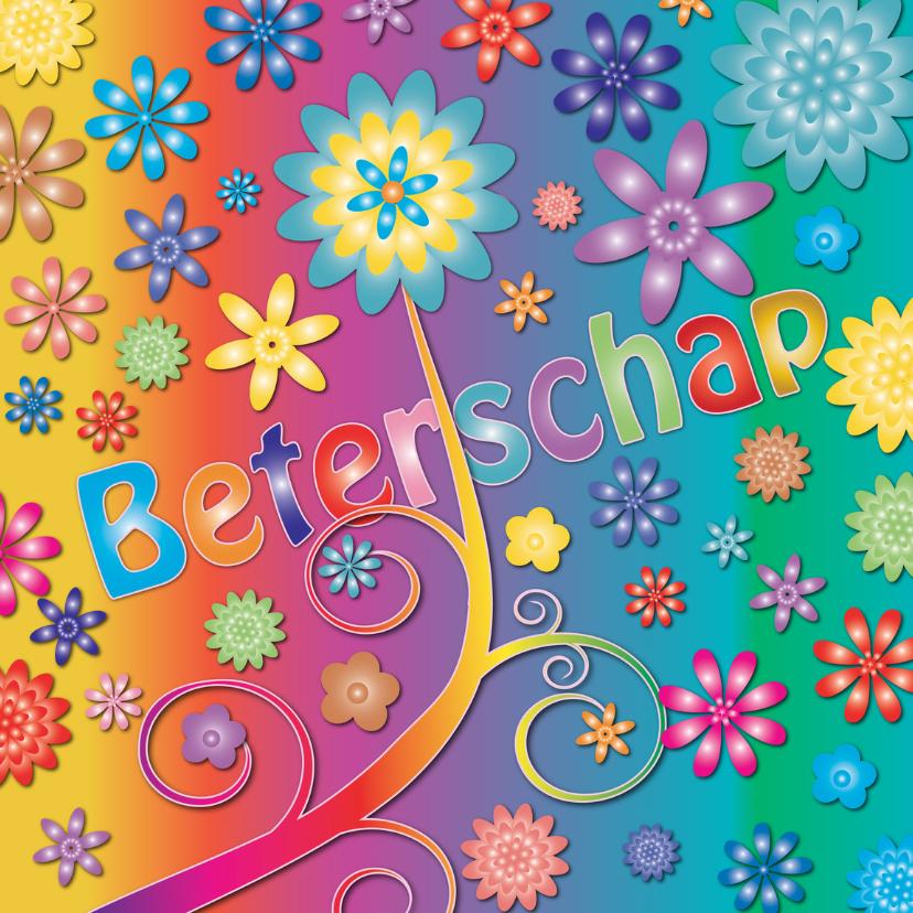 Beterschapskaarten - kleurige hippie beterschaps kaart
