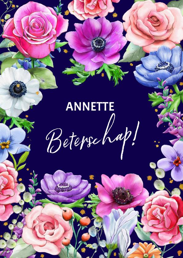 Beterschapskaarten - Kleurrijke beterschapskaart met Rozen en Anemonen