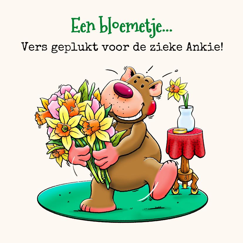 Beterschapskaarten - Leuke beterschapskaart met beertje en bloemen voor vrouw