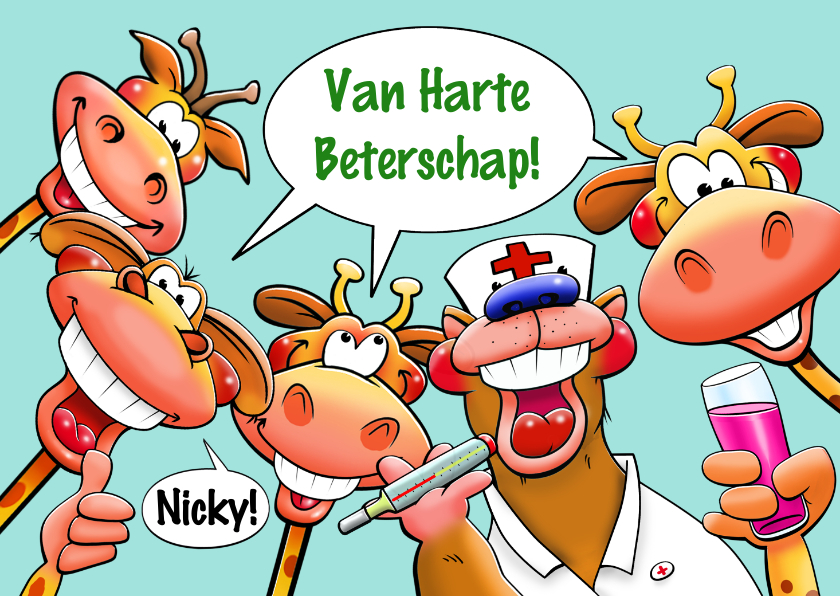 Beterschapskaarten - Leuke beterschapskaart met dieren 4 giraffen en 1 beer