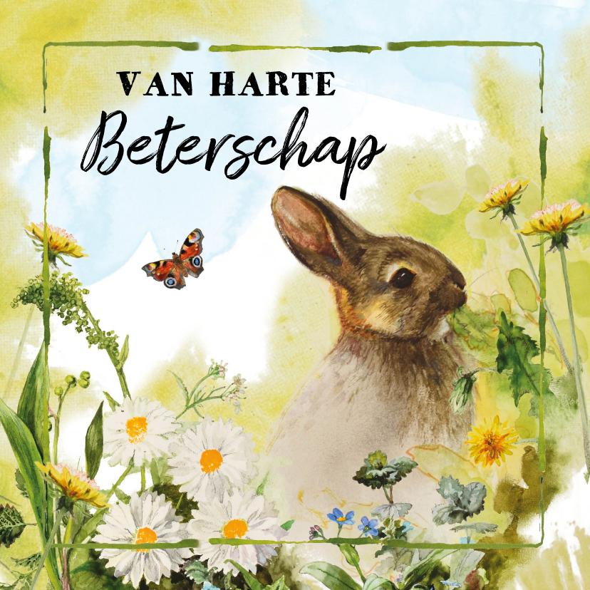 Beterschapskaarten - Lief beterschapskaartje met konijn
