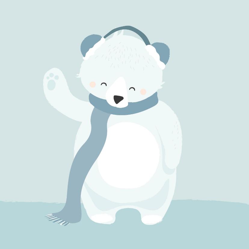 Beterschapskaarten - Lieve getekende kaart met ijsbeer en een warme sjaal