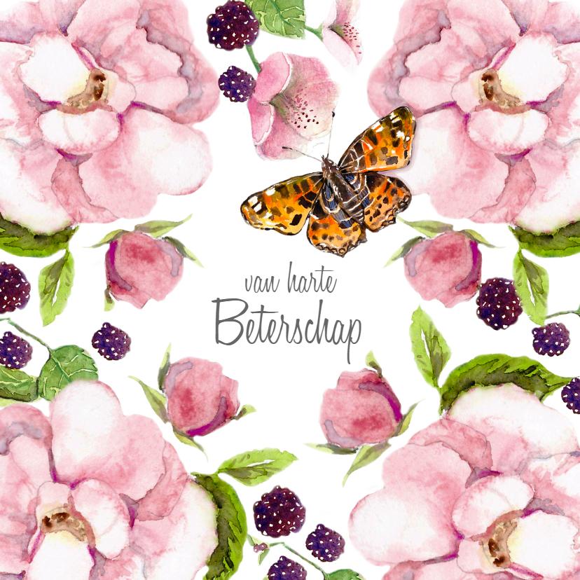 Beterschapskaarten - Beterschapskaart Rozenstruik vlinder