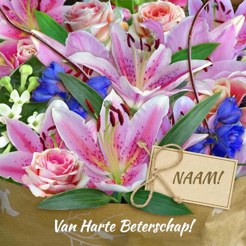 Beterschapskaarten - Mooi beterschapskaartje met boeket lelies