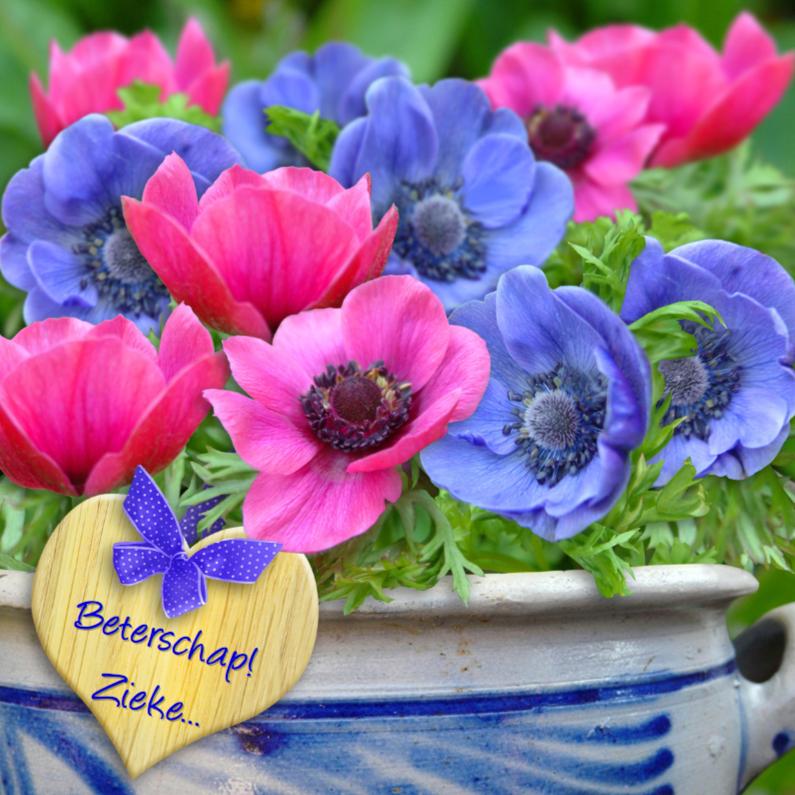 Beterschapskaarten - Mooie beterschapskaart Anemonen met hart en Keulse pot