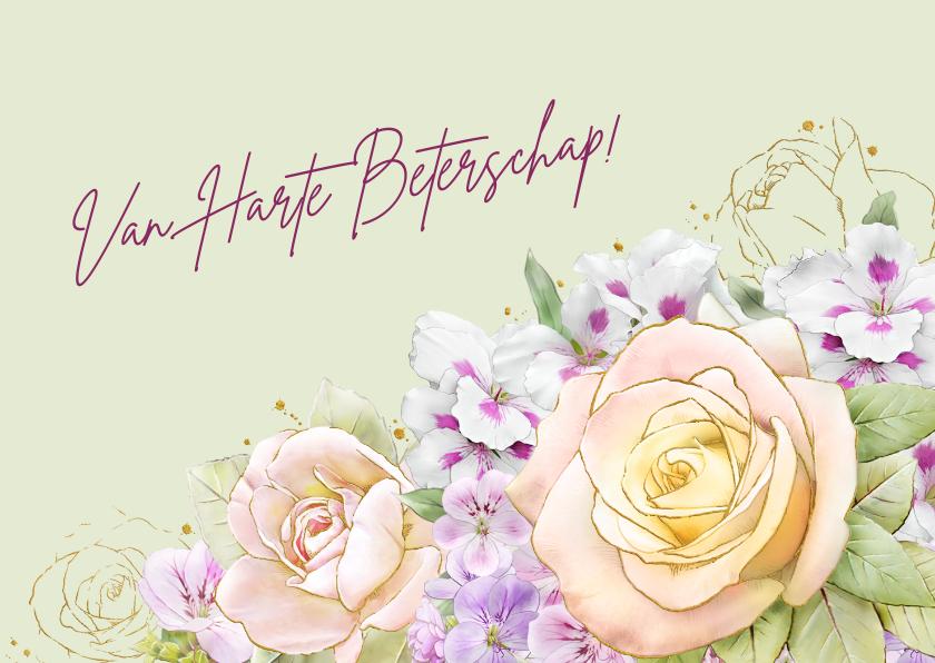 Beterschapskaarten - Mooie beterschapskaart met bloemen zoals rozen op waterverf