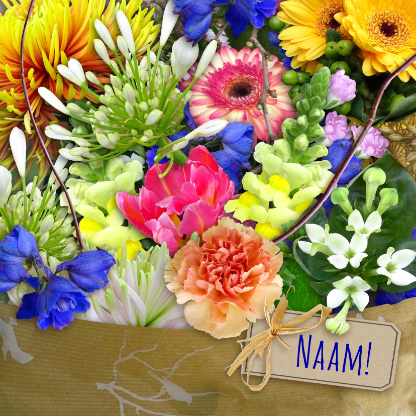 Beterschapskaarten - Mooie beterschapskaart met boeket kleurige bloemen