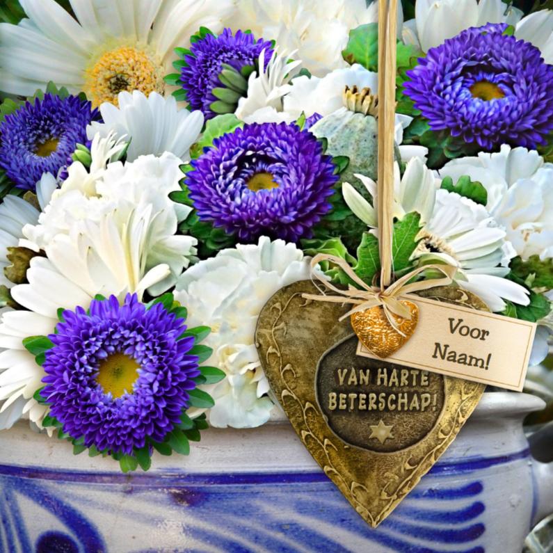 Beterschapskaarten - Mooie beterschapskaart met koperkleurig hart