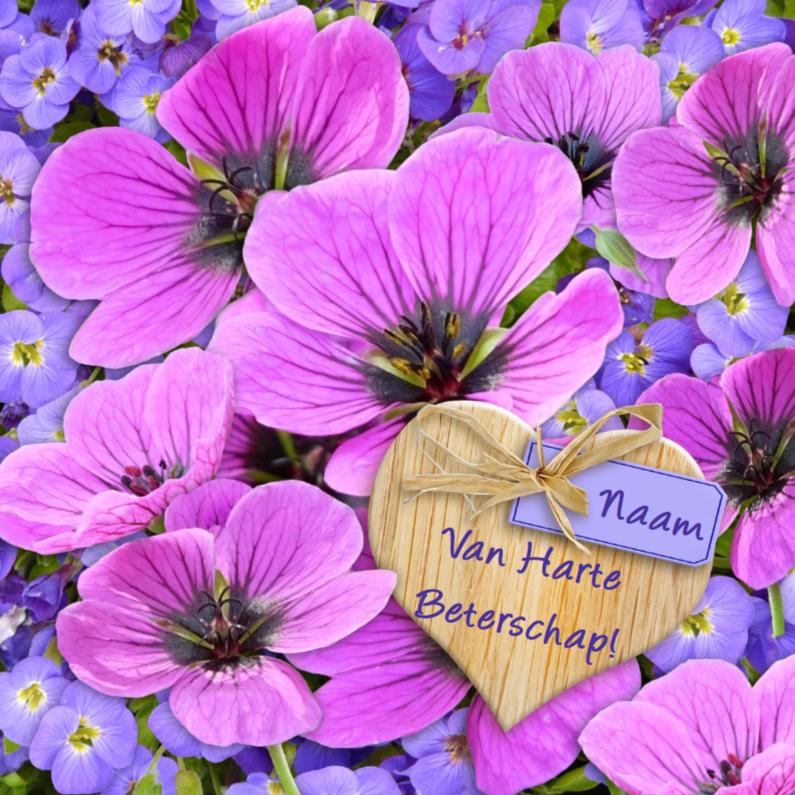 Beterschapskaarten - Mooie beterschapskaart met lila bloem op hart