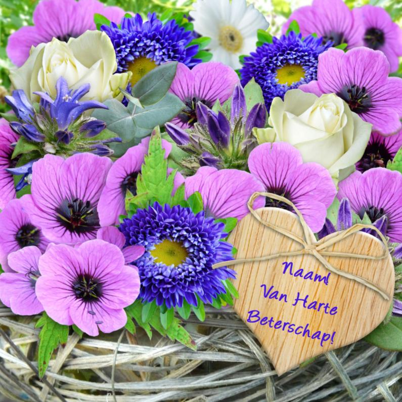 Beterschapskaarten - Mooie beterschapskaart met lila bloemen vlechtwerk en hartje