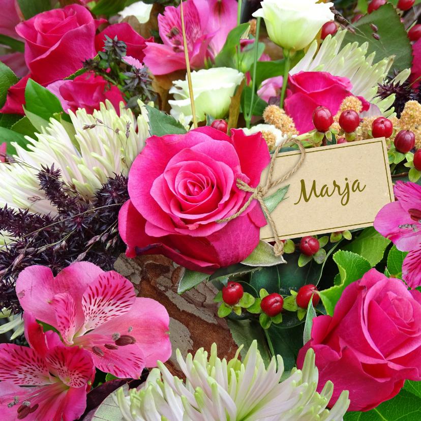 Beterschapskaarten - Mooie Beterschapskaart met rozen en Chrysanten