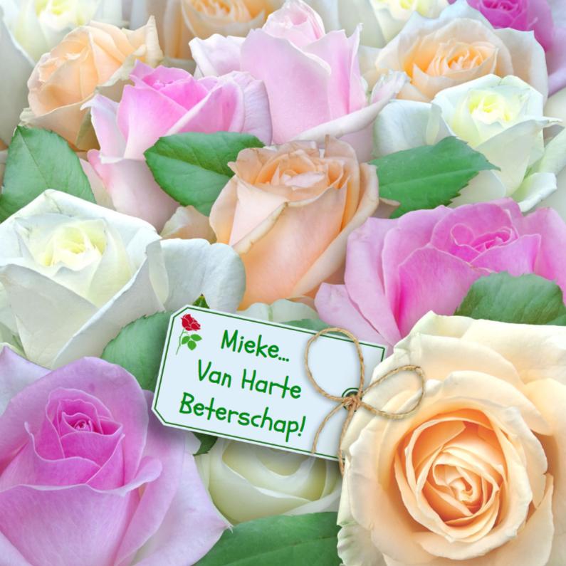 Beterschapskaarten - Mooie beterschapskaart met rozen in pasteltinten