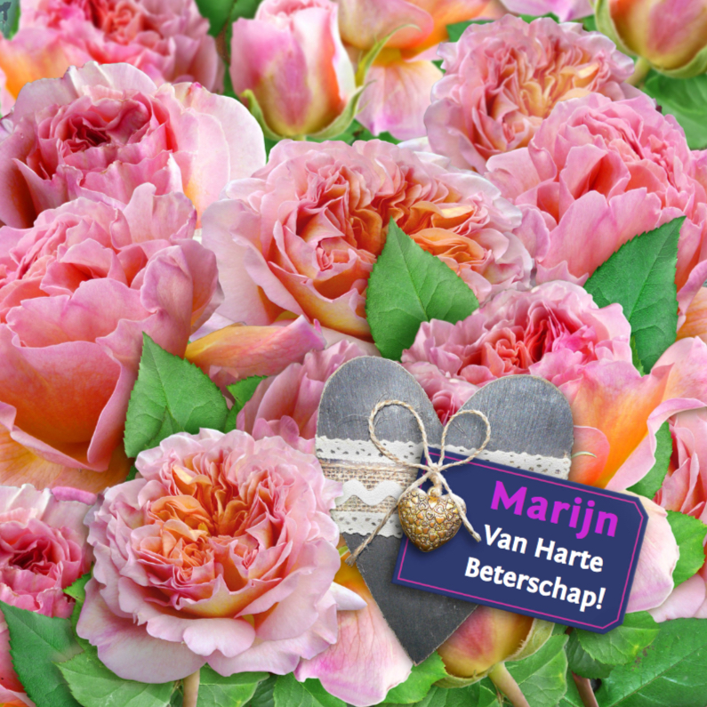 Beterschapskaarten - Mooie beterschapskaart met rozen met grijs hart